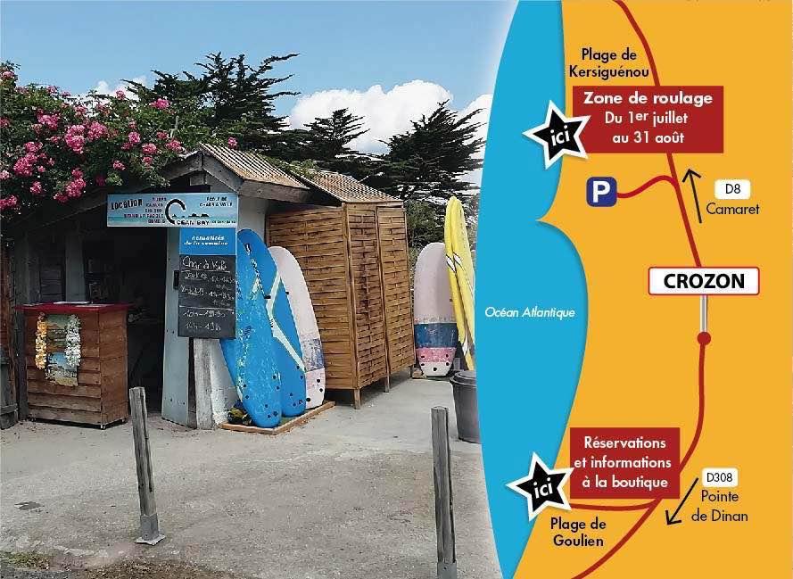 Carte des zones de roulage et location d'océan Bay à Goulien - Crozon